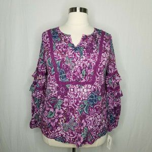 Style&Co Purple Floral-Print Tiered-Sleeve Top
